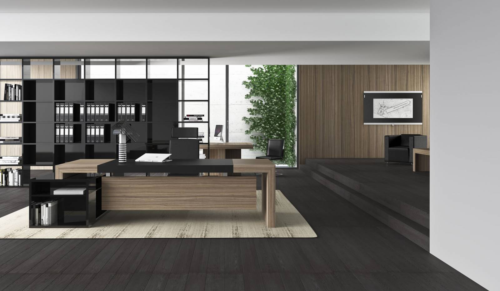 Bureau de direction haut de gamme sur Marseille avec desserte de rangement fixe.Bureau coloris bois avec placet en cuir noir.