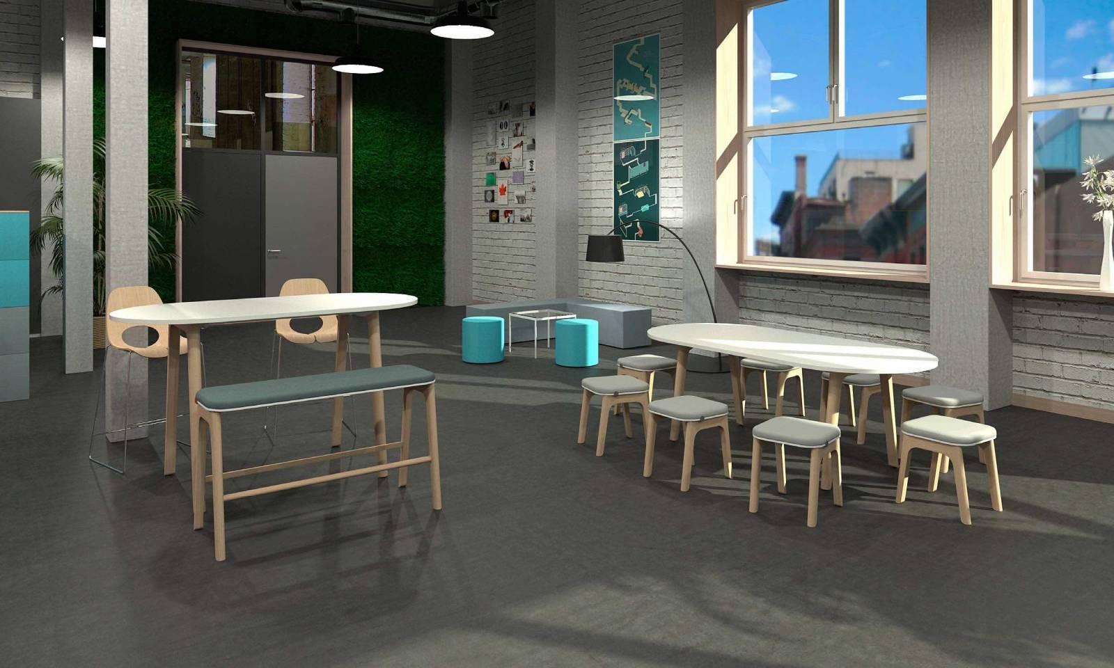 Espace détente/repas avec la gamme LEVITATE banc et tabouret
