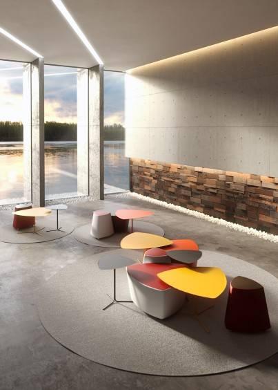 Hall d'acceuil avec tables design sur St Raphael