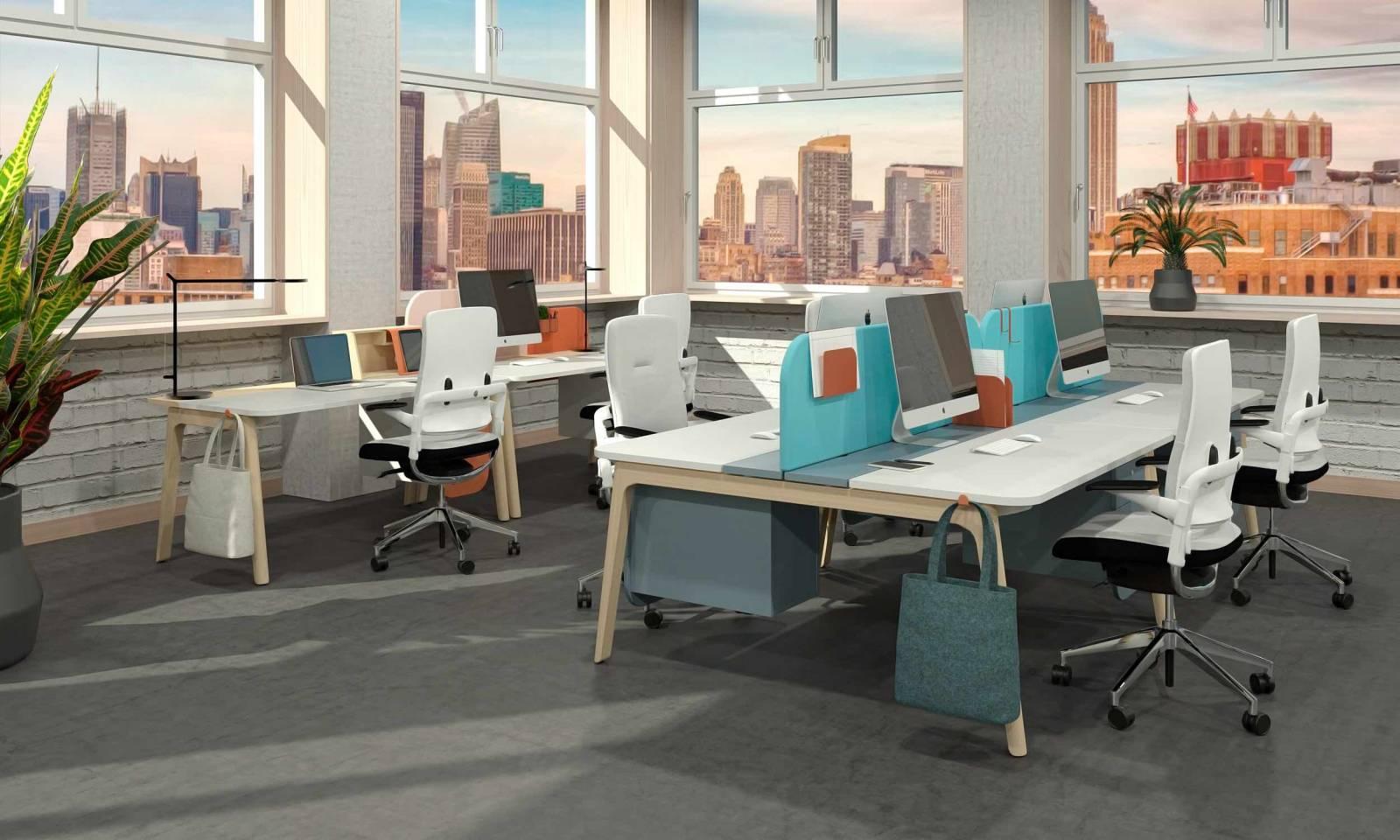 Open space LEVITATE Multipostes avec accessoires