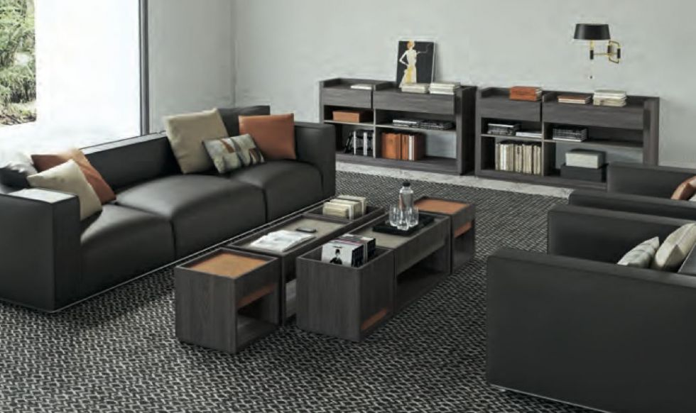 Rangement de bureau de direction, porte-revues et meuble bas