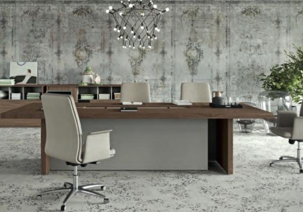 Table de réunion italienne couleur bois foncé