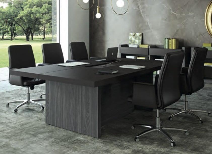 Table de réunion plateau revêtu cuir