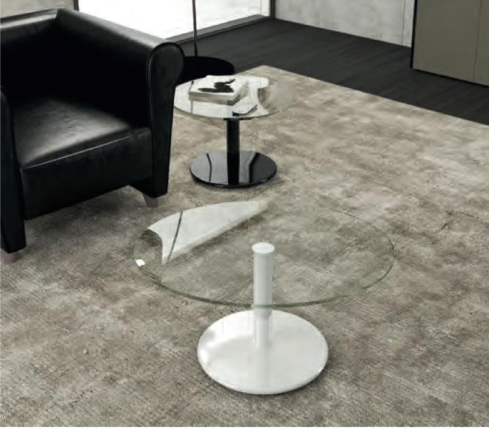 Table ronde blanc laqué avec plateau en verre