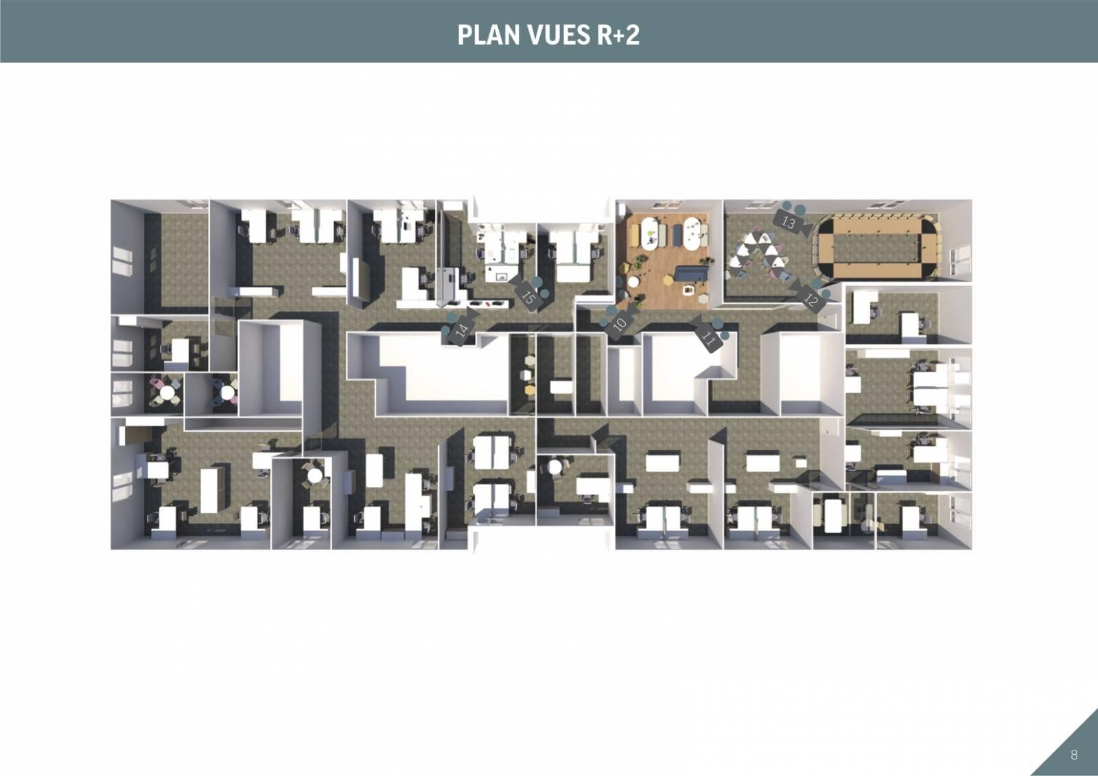 Axonométrie R+2 Avec implantation du mobilier et des open space