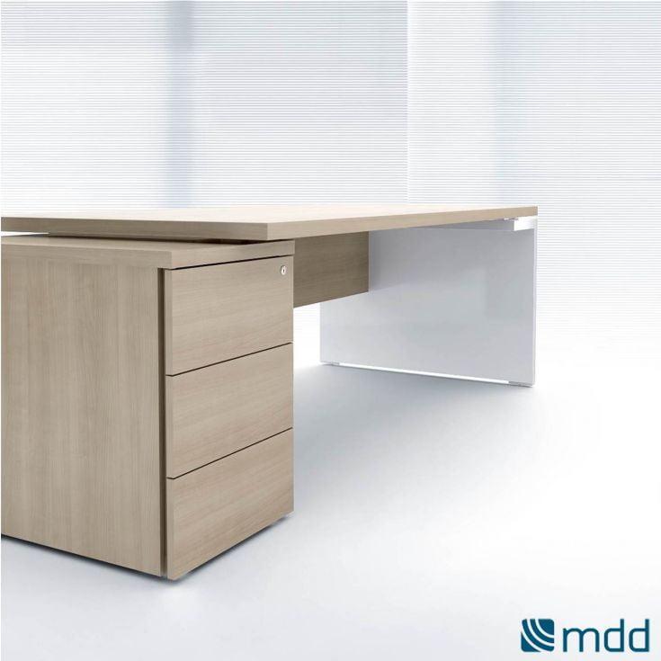 Bureau avec rangement intégré 3 tiroirs en bois/blanc