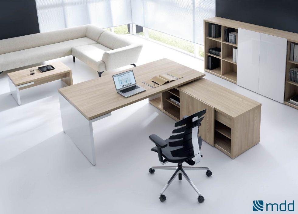 Bureau de direction bois clair avec meuble de rangement