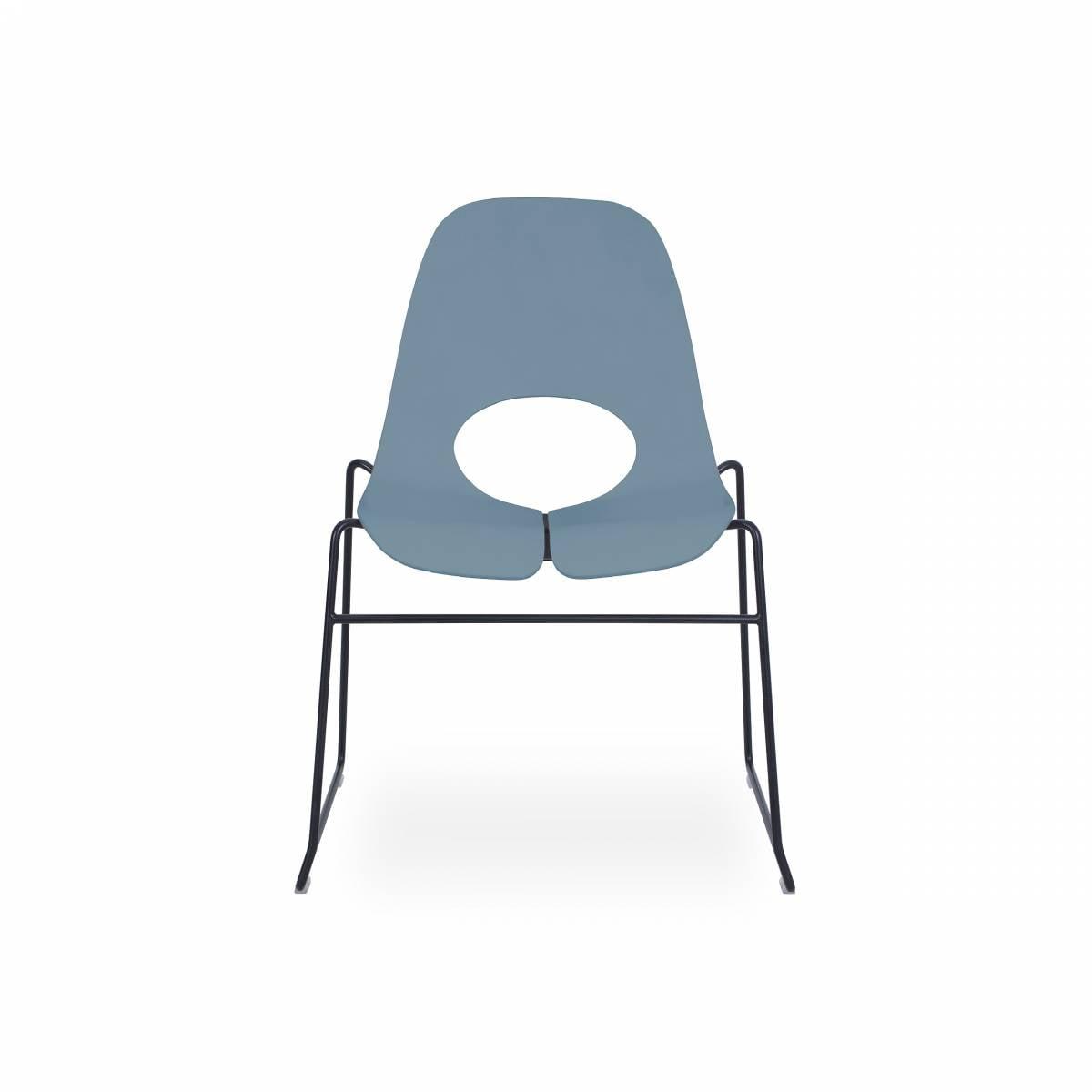 Chaise coque bois hêtre peint, pied cadre métal noir chaise TAUKO sur GEMENOS