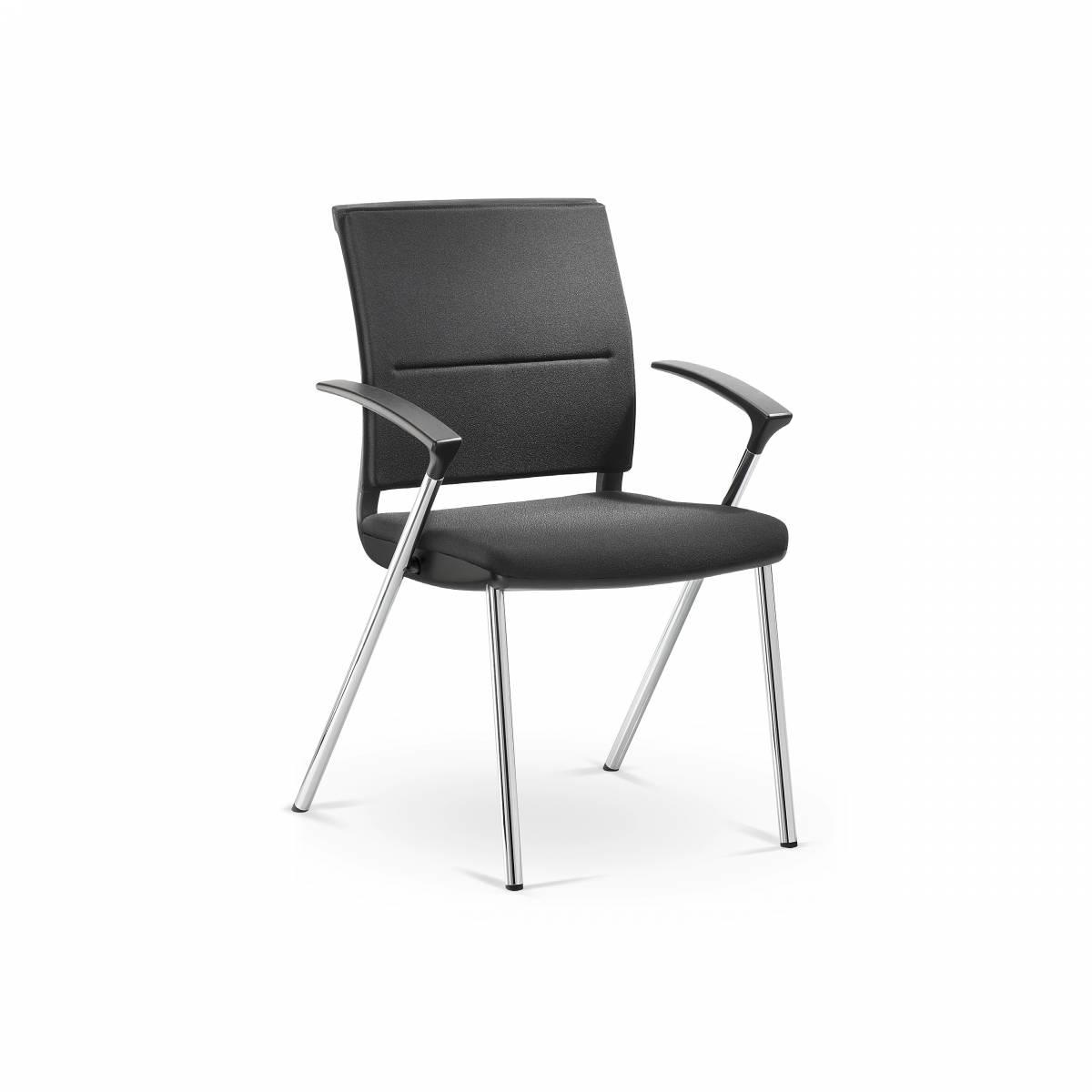 Chaise visiteur entièrement tapissée 4 pieds avec accoudoirs fixes de série gamme SAIL sur Marseille