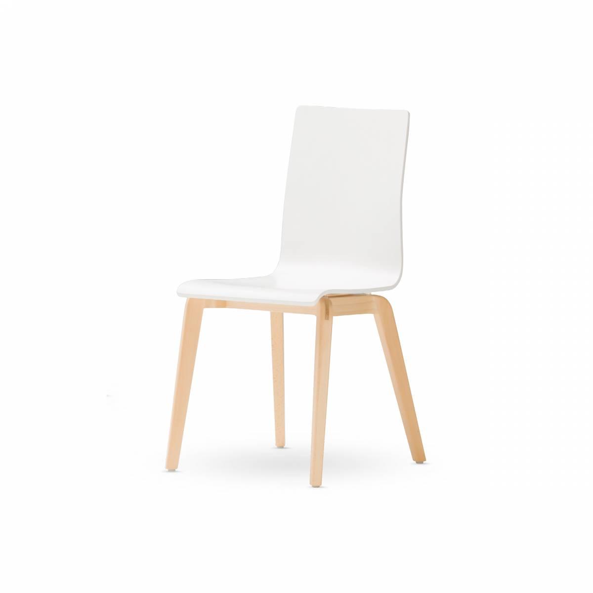 Chaise pied bois massif naturel avec coque stratifiée peinte en blanc sur Gemenos