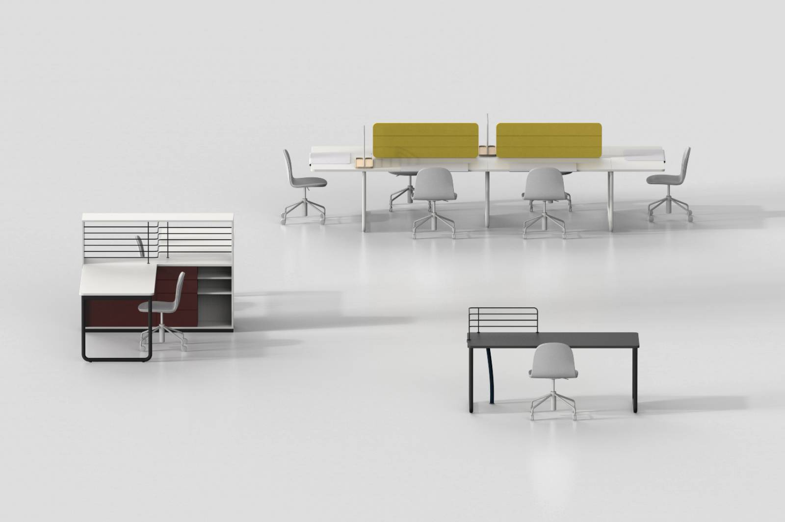configuration possible avec la gamme Play and Work.Espace collectif ou individuel