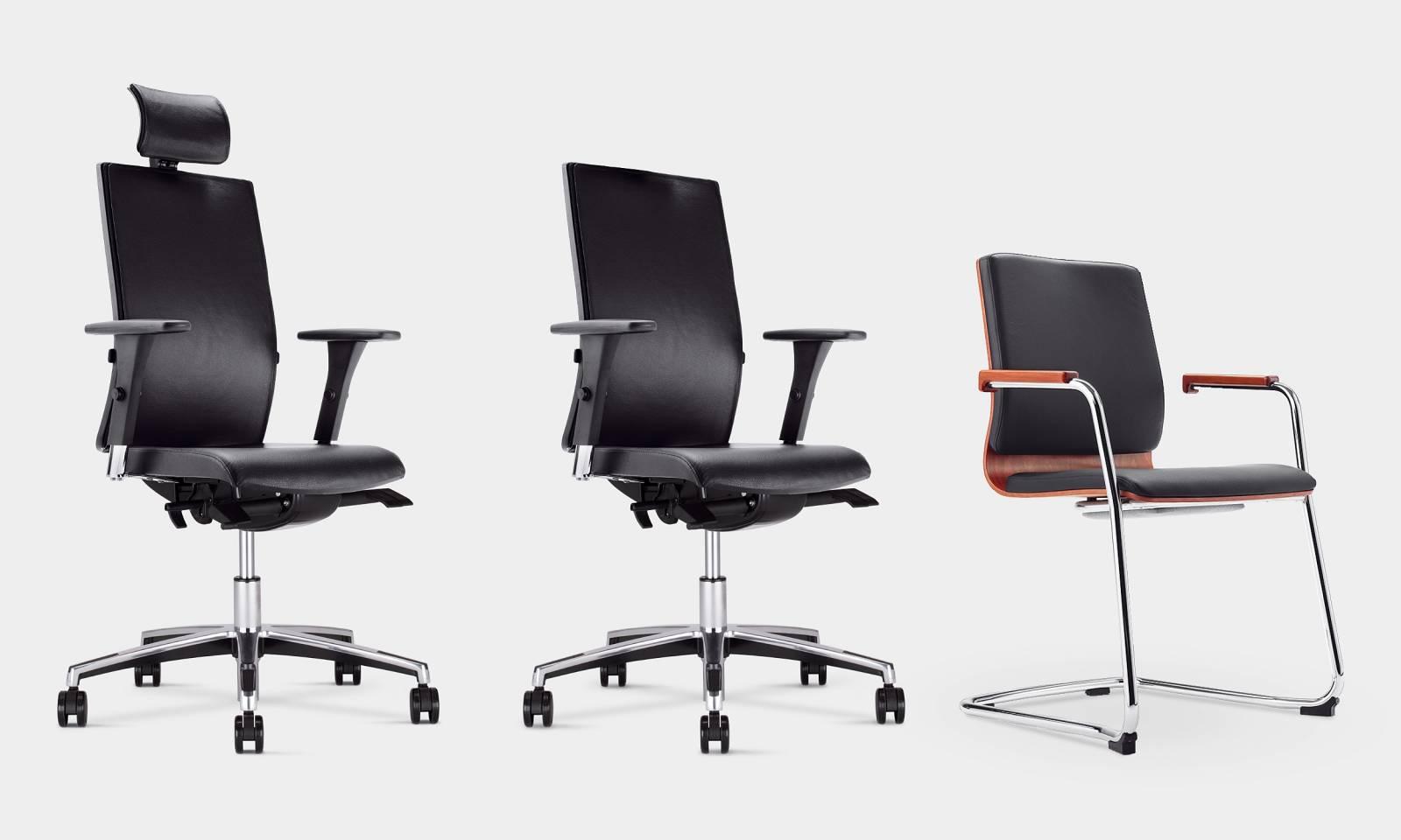 Ensemble de la gamme MOJITO avec le fauteuil de direction, le fauteuil opérationnel et la chaise visiteur sur Aix en provence