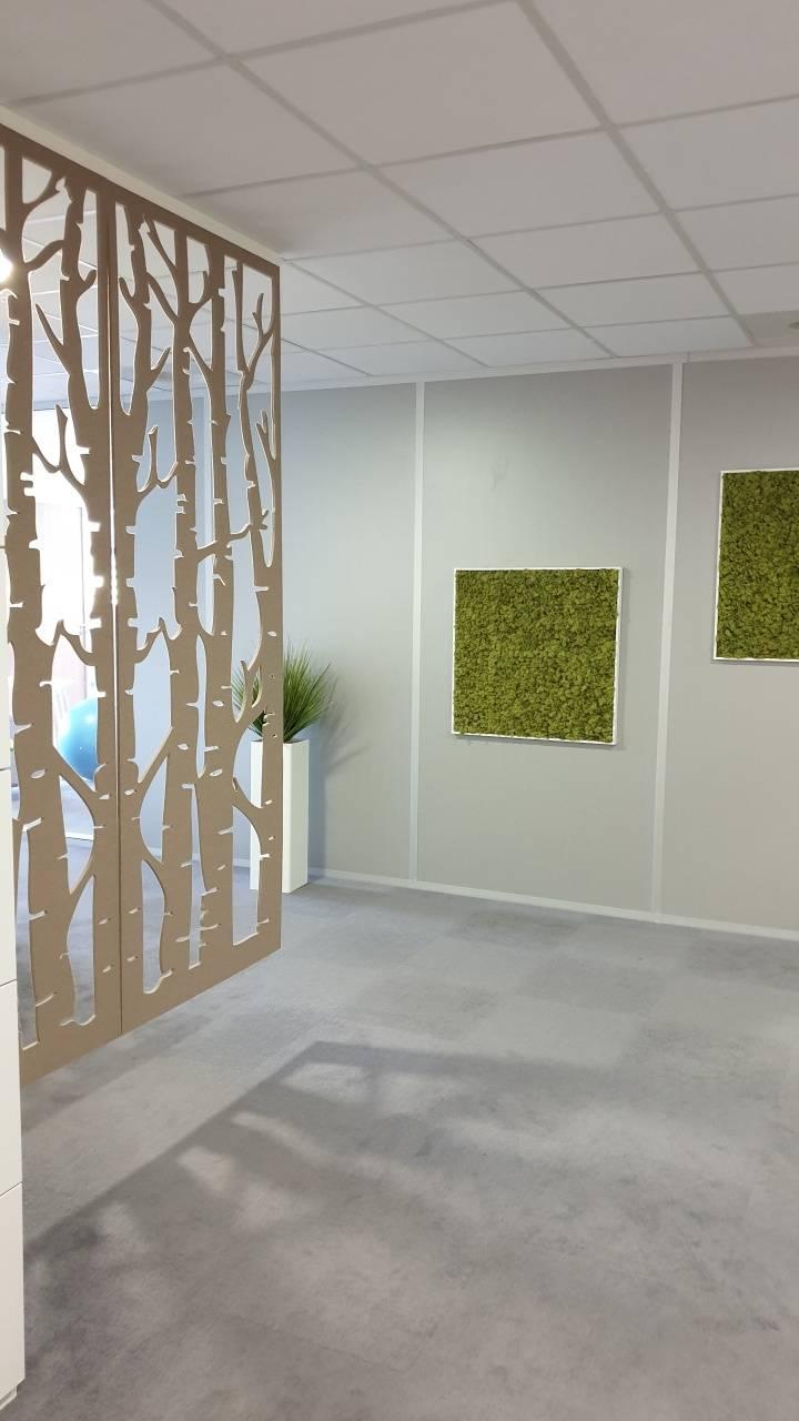 Entrée d'étage avec cadres végétaux muraux en lichen et panneau Buzzibirch pour séparer la zone reproduction et atténuer les nuisances sonores sur Aix en Provence