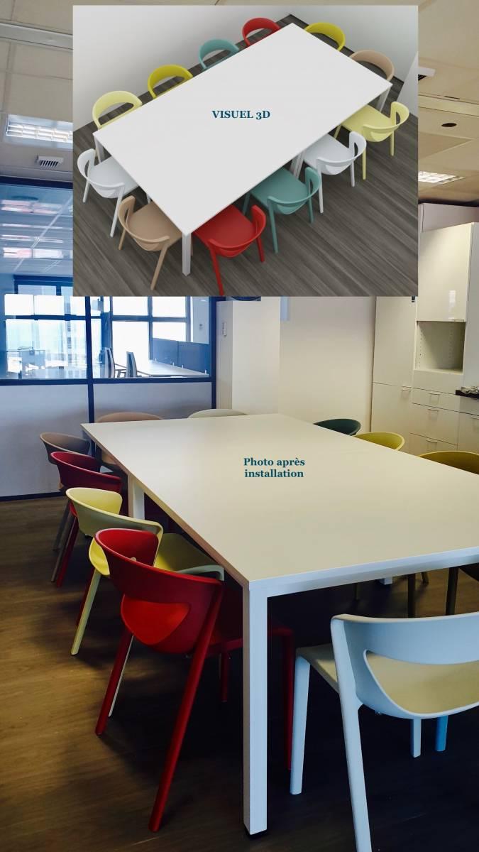 Espace de repas collectif aménagé avec 2 tables carrées et des chaises aux couleurs vives de chez KASTEL sur Marseille Le SILO