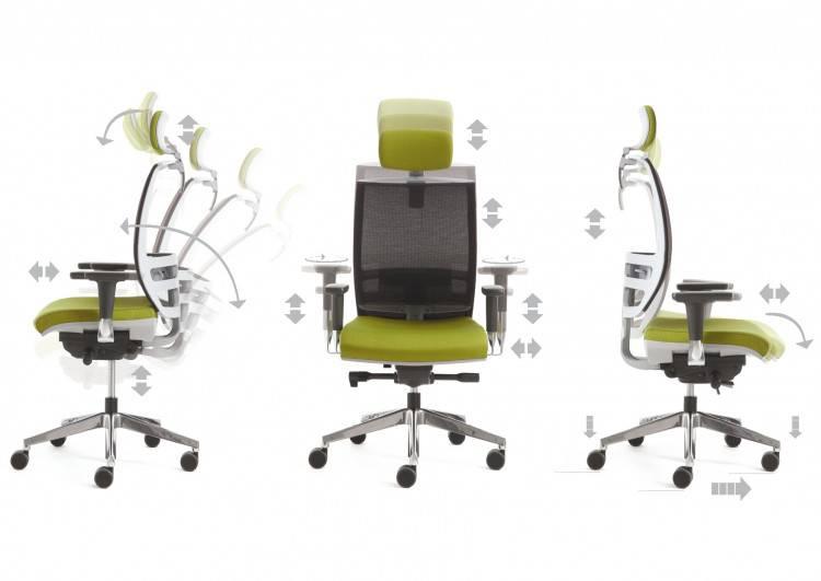 Tous les réglages disponibles pour le fauteuil de travail KONICA sur Marseille