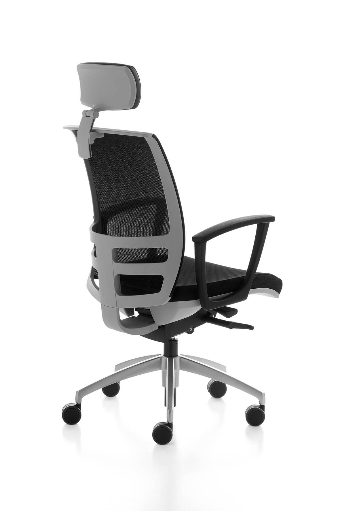 fauteuil de travail KONICA avec têtière et support lombaire structure grise sur Aubagne