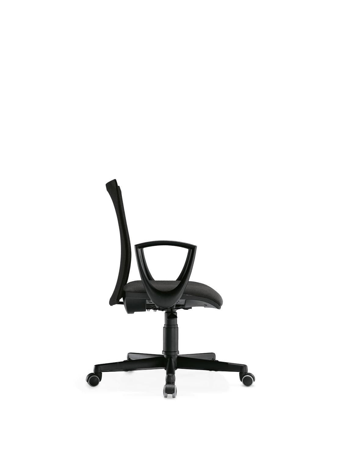 fauteuil de travail KROMA MESH dossier bas résille noire accoudoirs fixes piétement nylon noir sur Aubagne