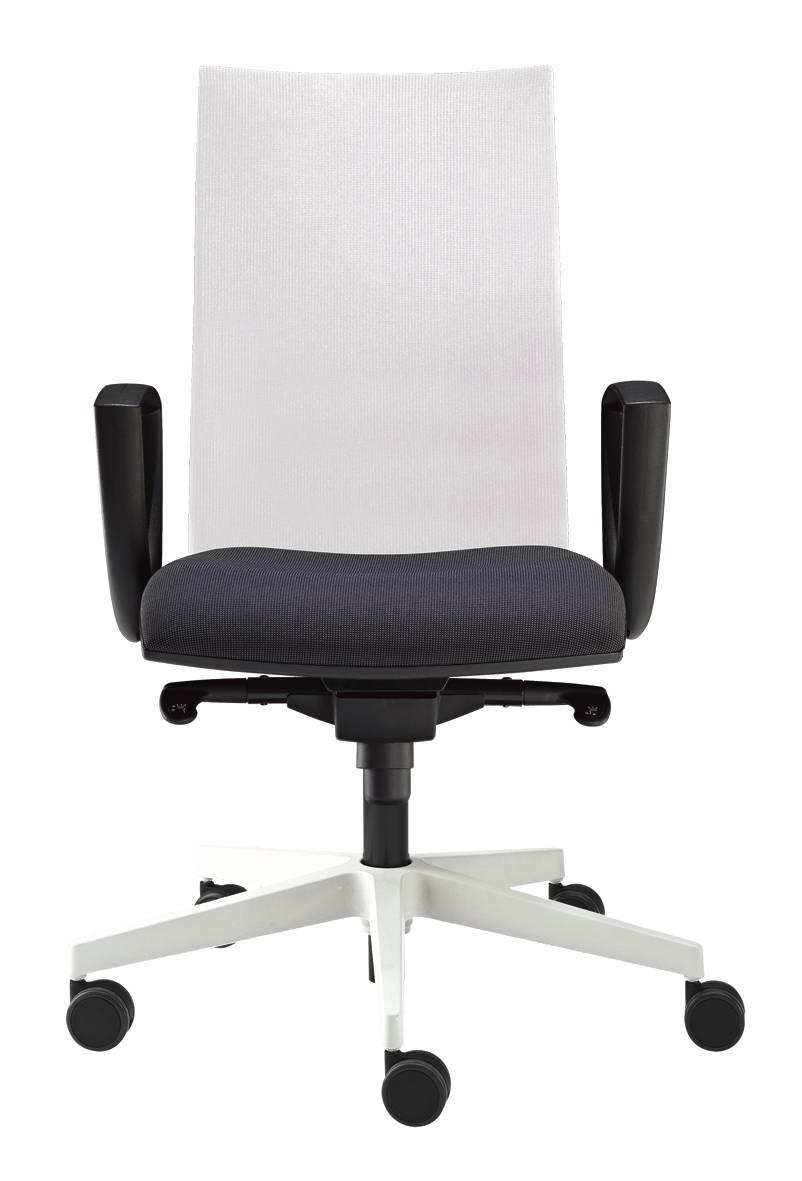 Fauteuil de travail dossier haut résille blanche assise garnie noire sur Gemenos