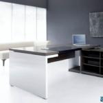 Grand bureau de direction bois foncé et meuble de rangements