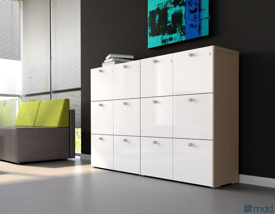 Grand Meuble de rangement pour Bureau de direction avec tiroirs à serrure couleur bois (Sycomore clair)
