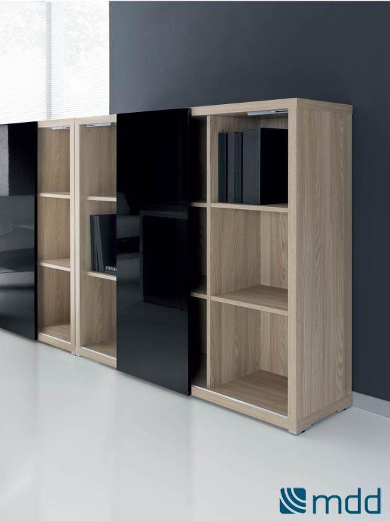 Meuble de rangement bibliothèque couleur: bois (Sycomore clair et noir laqué)