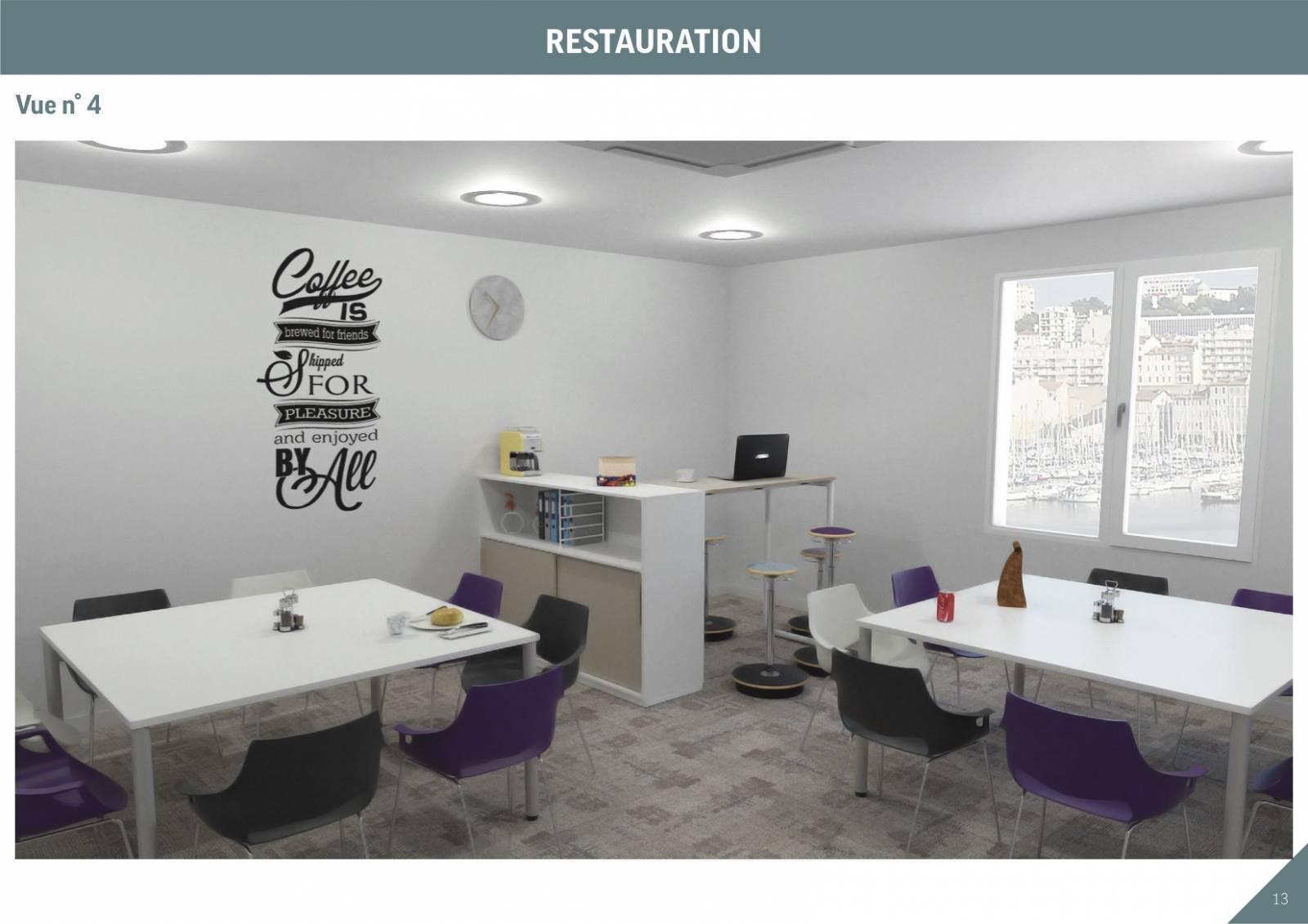 Proposition d'ambiance pour la salle de restauration avec du mobilier tendance et dynamique
