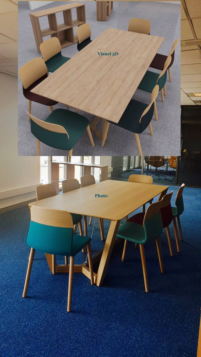 Table en bois massif de chêne de chez SELLEX avec chaises design de chez SOKOA en chêne pour un espace de co working sur Marseille