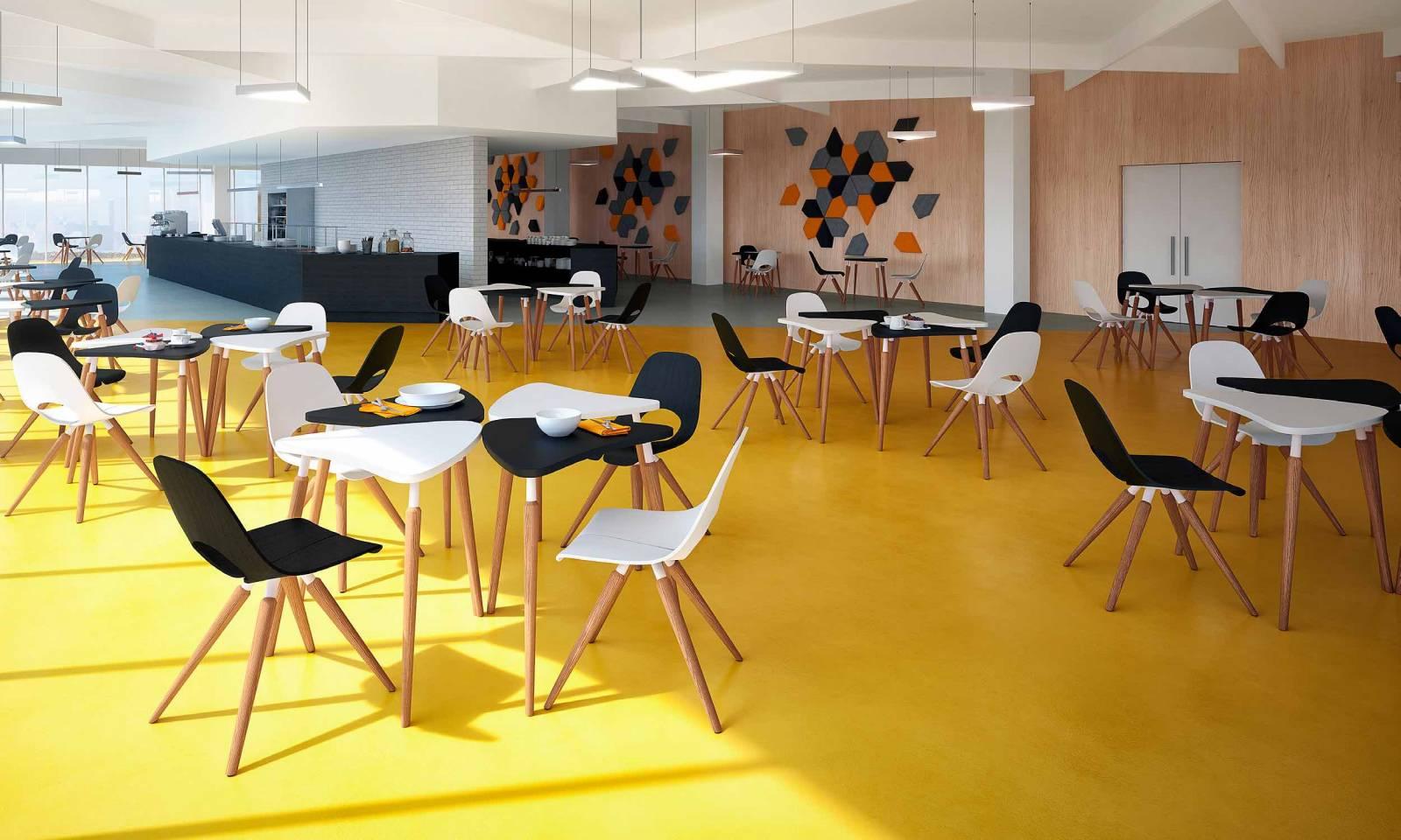 Table modulaire TAUKO pour aménagement d'une cafétéria avec chaise TAUKO