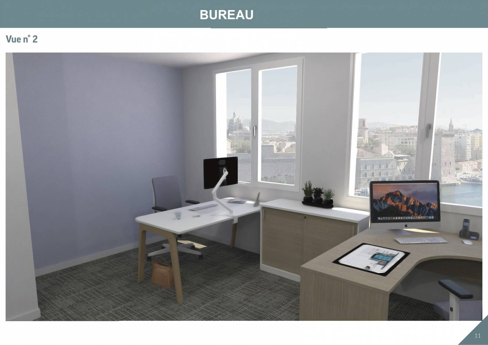 Visuel d'un bureau avec bureau Levitate et bras articulé