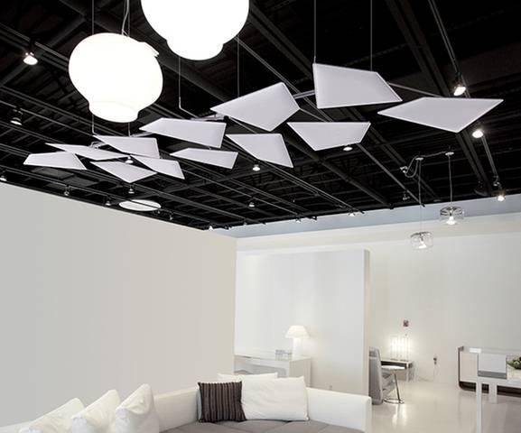 Configuration en sus pension horizontale avec ou sans éclairage pour calfeutré la réverbération du son dans une salle de réunion. sur Marseille et ses environs.