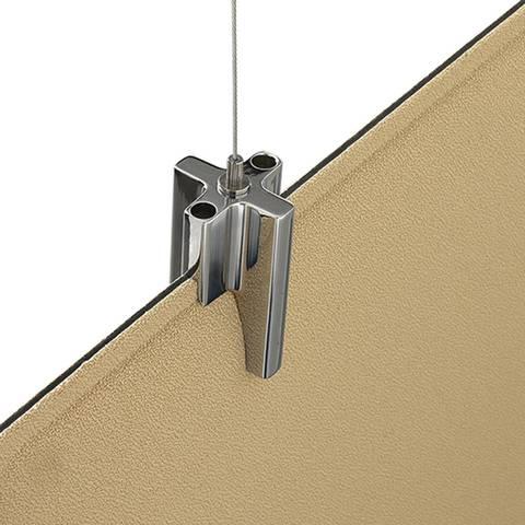 Système de fixation en suspension par cable pour panneau acoustique sur Aubagne